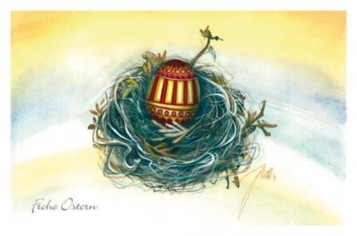 Kunstkarte - Ei im Nest - Rot