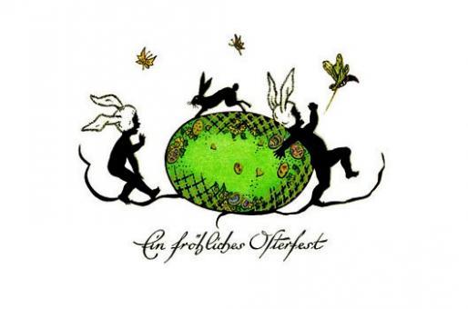 Scherenschnittkarte - Ein fröhliches Osterfest