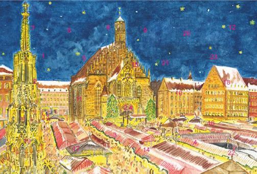 Adventskalender Nürnberg - Christkindlesmarkt mit Frauenkirche mit Glitzer