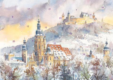 Wand-Adventskalender Coburg - Morizkirche mit Veste