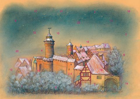 Wand-Adventskalender Nürnberg - Die Kaiserburg im Abendlicht