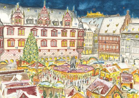Wand-Adventskalender Coburg - Frohes Treiben auf dem Weihnachtsmarkt