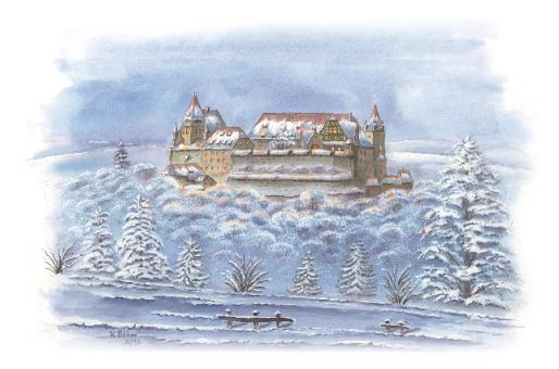 Kunstkarte Coburg - Blick von der Brandensteinsebene auf die Veste