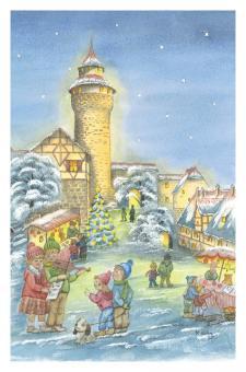 Kunstkarte Nürnberg - Weihnachtsvorfreude an der Kaiserburg