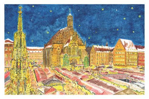 Kunstkarte Nürnberg - Frohes Treiben auf dem Christkindlesmarkt