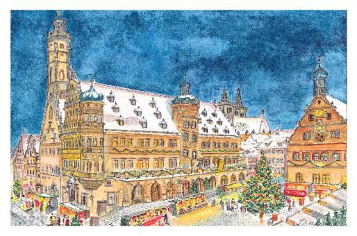 Kunstkarte Rothenburg - Weihnachtliche Stimmung am Reiterlesmark ohne Glitzer