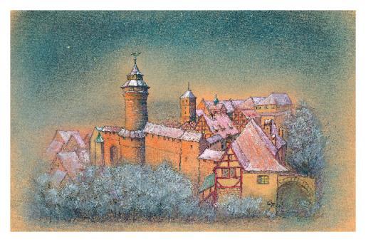 Kunstkarte Nürnberg - Die Kaiserburg im Abendlicht