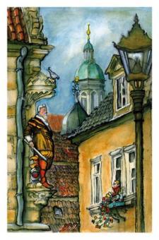 Kunstkarte Coburg - Blick auf Herzog Casimir mit Rathausturm