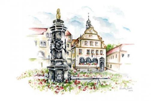 Kunstkarte Bad Rodach - Marktbrunnen mit Rathaus
