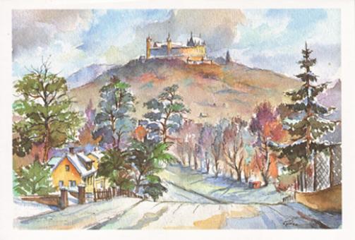 Kunstkarte Coburg - Blick von Scheuerfeld zur Veste