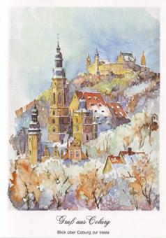 Kunstkarte Coburg - Gruß aus Coburg - Blick über Coburg zur Veste