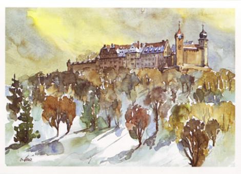 Kunstkarte Coburg - Veste Coburg von Cortendorf