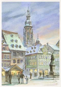 Kunstkarte Coburg - Coburger Marktplatz mit St. Moriz
