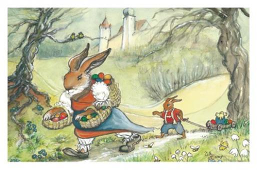 Kunstkarte - Der Osterhase auf dem Weg in die Stadt