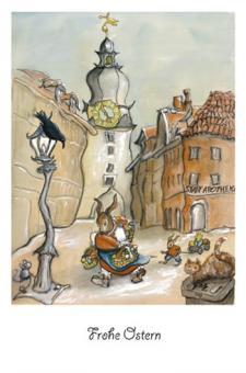 Kunstkarte - Auf dem Weg zum Ostermarkt