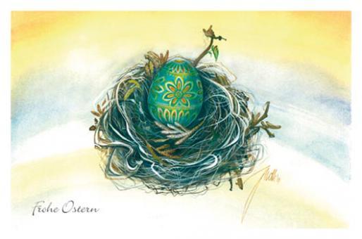 Kunstkarte - Ei im Nest - Türkis