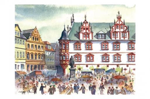 Kunstkarte Coburg - Pfingsttreiben auf dem Coburger Marktplatz