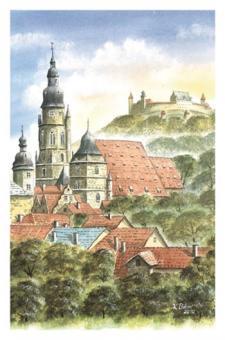 Kunstkarte Coburg - St. Morizkirche mit Veste