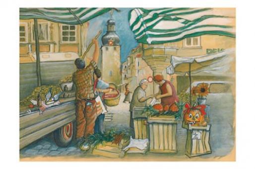 Kunstkarte Coburg - Auf dem Markt