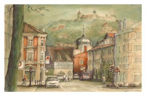 Kunstkarte Coburg - Heiligkreuz mit Bahnhofsapotheke