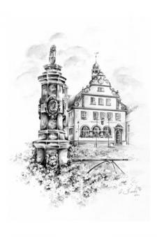 Bad Rodach - Marktbrunnen mit Rathaus