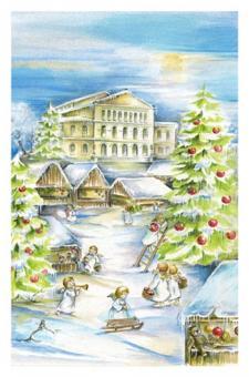 Kunstkarte Coburg - Landestheater vorweihnachtliches Treiben