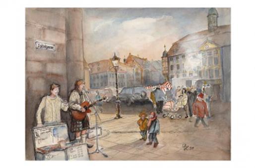 Kunstkarte Coburg - Musikanten am Stadthaus