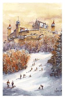 Kunstkarte Coburg - Winterfreuden im Veilchental