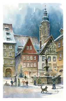 Kunstkarte Coburg - Weihnachtsstimmung am Rückertbrunnen