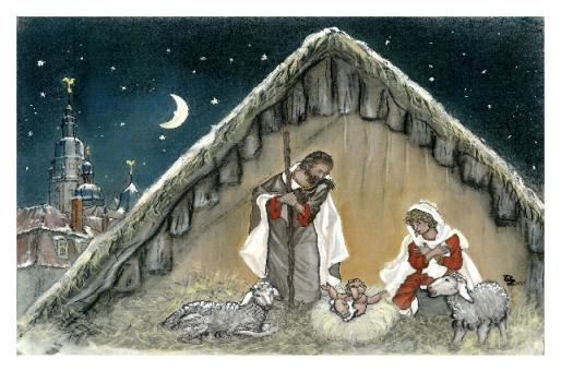 Kunstkarte Coburg - Weihnachtskrippe