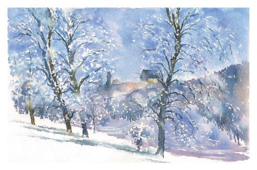 Kunstkarte Coburg - Verschneiter Hofgarten mit Veste
