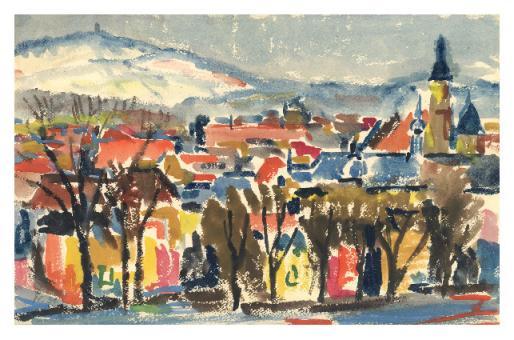 Kunstkarte Coburg - Blick über die Altstadt zum Eckardtsturm