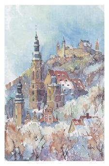 Kunstkarte Coburg - Blick auf St. Morizkirche mit Veste