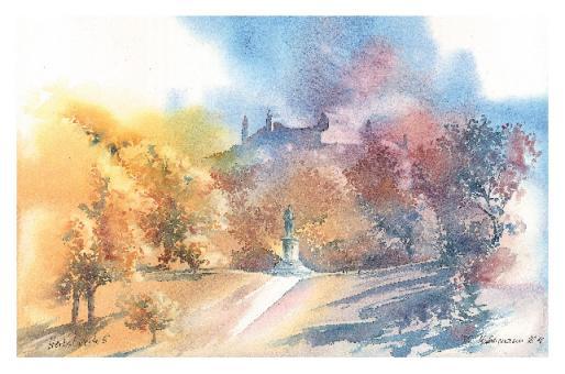 Kunstkarte Coburg - Herbstliche Veste mit Reiterdenkmal Ernst II.