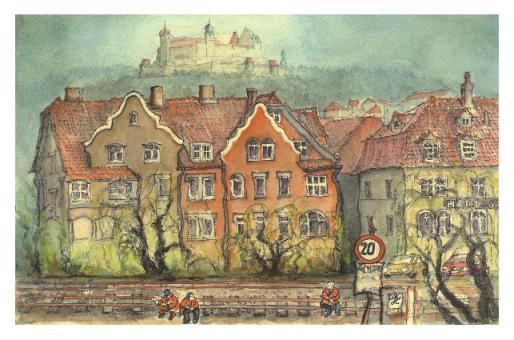 Kunstkarte Coburg - Am Bahndamm in der Lossaustraße