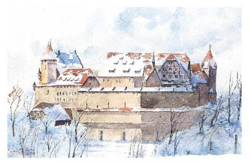Kunstkarte Coburg - Veste von Osten