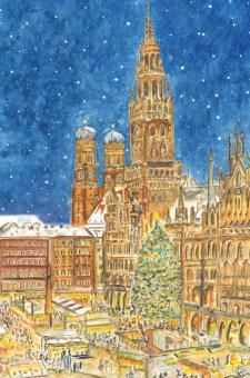 Kunstkarte München - Christkindlmarkt am Marienplatz ohne Glitzer