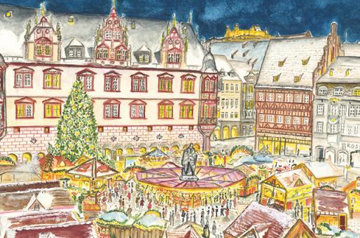 Kunstkarte Coburg - Frohes Treiben auf dem Weihnachtsmarkt