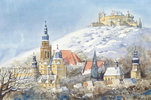 Kunstkarte Coburg - Stadt und Veste im Winterkleid