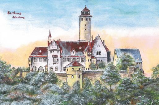 Kunstkarte Bamberg - Altenburg im Winter