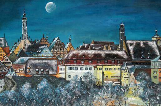 Kunstkarte Rothenburg - Weihnachtliche Stimmung über der Altstadt