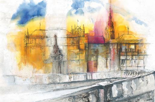 Kunstkarte Coburg - Blick von den Arkaden auf Schloss Ehrenburg und Morizkirche