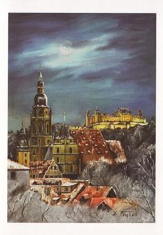 Kunstkarte Coburg - Vollmondnacht über St. Moriz und Veste Coburg