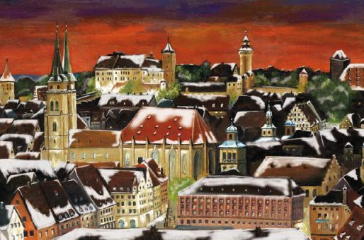 Kunstkarte Nürnberg - Weihnachtsstimmung über der Altstadt