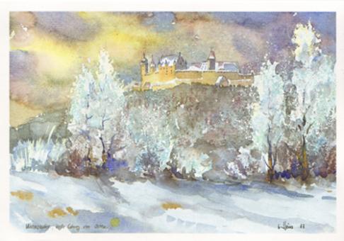 Kunstkarte Coburg - Winterzauber, Veste Coburg von Osten
