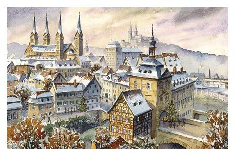 Kunstkarte Bamberg - Weihnachtliche Stimmung über der Altstadt ohne Glitzer