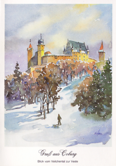 Kunstkarte Coburg - Gruß aus Coburg - Blick vom Veilchental