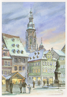 Kunstkarte Coburg - Coburger Marktplatz mit St. Moriz (glänzend)