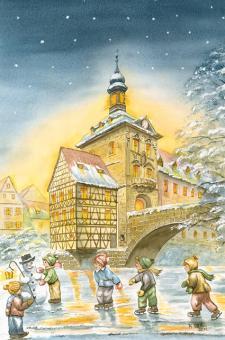 Kunstkarte Bamberg - Altes Rathaus mit Glitzer