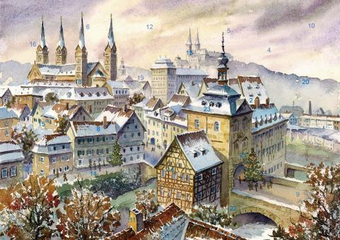 Wand-Adventskalender Bamberg - Weihnachtliche Stimmung über der Altstadt mit Glitzer mit Glitzer